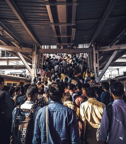 Mumbai Bombay train foule