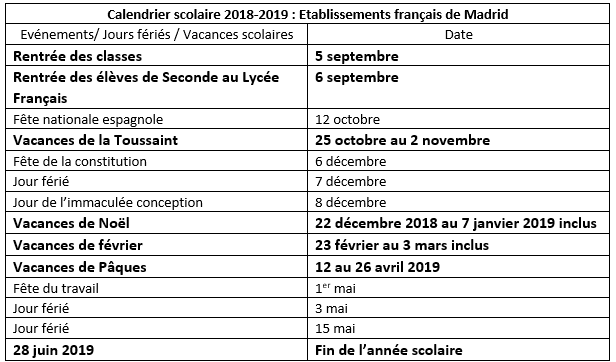 Calendrier Madrid.Calendrier Scolaire 2018 19 A Madrid Etablissements