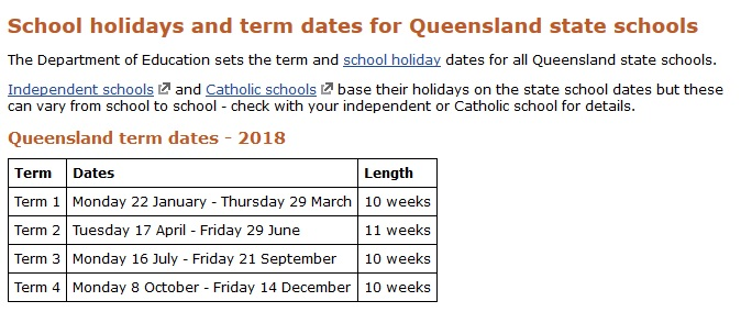 Calendrier scolaire 2018 Queensland