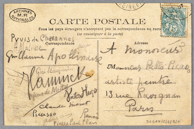 Guillaume Apollinaire Carte postale