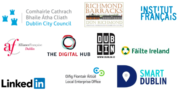 Avec le soutien du Dublin City Council, de l'Institut Français, de Richmond Barracks ainsi que l'Alliance française de Dublin, Dublin.ie, le Digital Hub, Fáilte Ireland, Linkedin, Local Enteprise Office Dublin City et Smart Dublin.