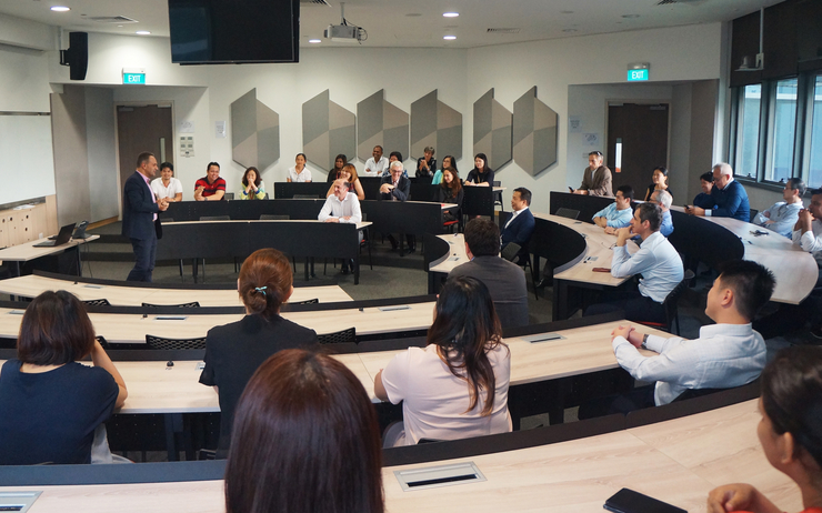 Prof Vincenzo Addressing Staff & students ESSEC Singapore